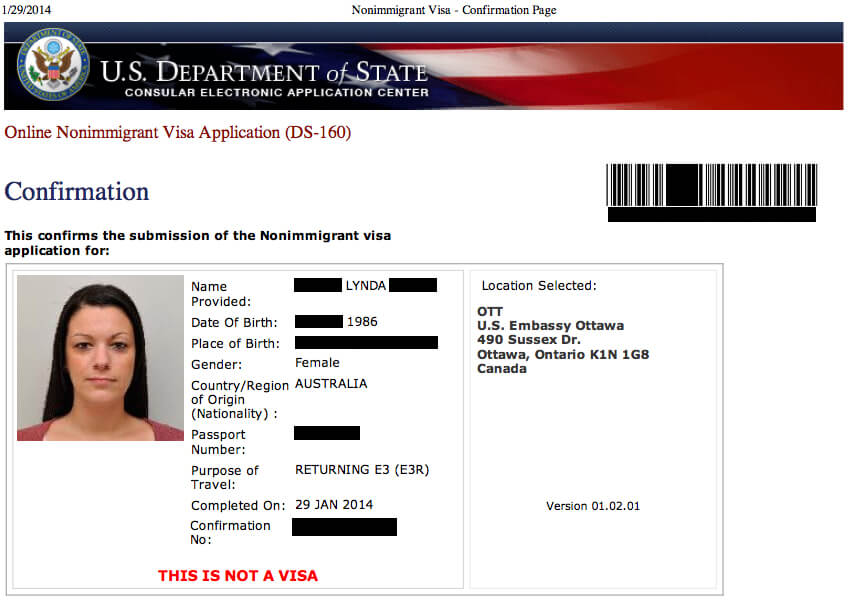 Formulario de visa americana ds160